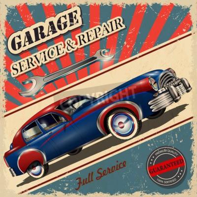 Canvastavlor Vintage garage retro affisch