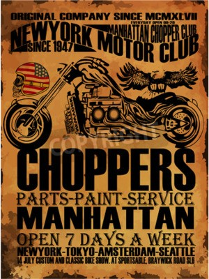 Canvastavlor Vintage Motorcycle T-shirt Grafisk