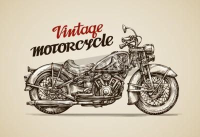 Canvastavlor Vintage motorcykel. Handritad motorcykel vektorillustration