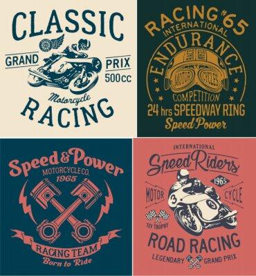 Canvastavlor Vintage motorcykel racing tryck för pojke t-shirt