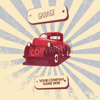 Canvastavlor Vintage retro pickupbil bil vektor illustration lämplig för marknadsföring, t-shirt mönster, etc.