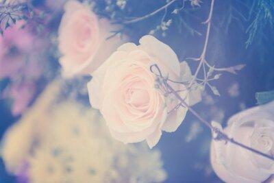 Canvastavlor Vintage ros blomma bukett mjuk bakgrund