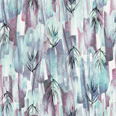 Canvastavlor Vintage seamless watercolor pattern of plants, wild grasses, algae, twigs, branch, rosemary, tropical, palm, plant. watercolor stylish pattern. Abstract green of paint splash. Trendy background.
