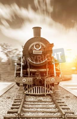 Canvastavlor vintage svart ångdriven järnvägståg