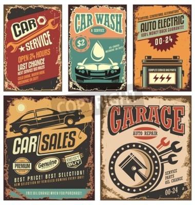 Canvastavlor Vintage taxitjänst skyltar och affischer metall