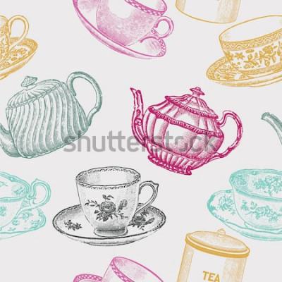 Canvastavlor vintage te porslin. sömlösa mönster