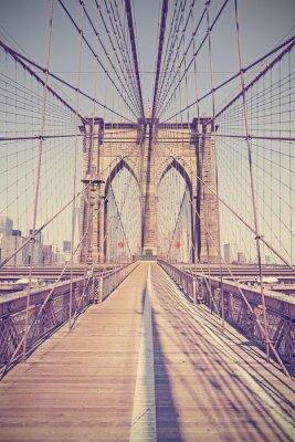 Canvastavlor Vintage tonade foto av Brooklyn Bridge, NYC, USA.