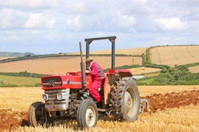 Canvastavlor Vintage traktor plogning