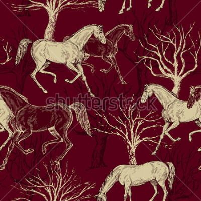 Canvastavlor Vintage vacker bakgrund med hästar och träd, kreativ skog, retro buljong monark, konstväv, fantasy vektor tapeter för dekoration och design