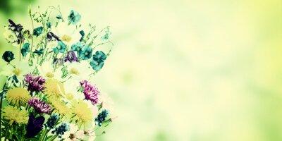 Canvastavlor Vintage vykort med Wild Flowers
