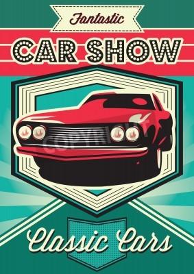 Canvastavlor Vintageaffisch för utställning av bilar