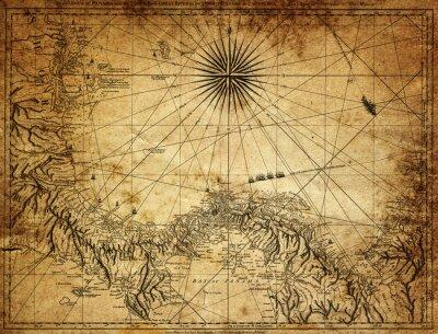 Canvastavlor vintagekarta av Panama