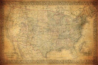 Canvastavlor Vintagekarta av USA 1867
