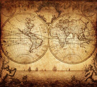 Canvastavlor vintagekarta av världen 1733