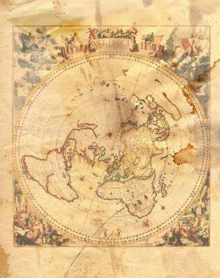 Canvastavlor vintagekarta av världen