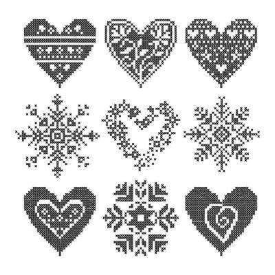 Canvastavlor vinter älskar seamless svart hjärta set