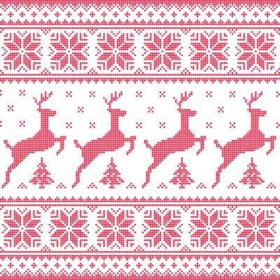 Canvastavlor Vinter, jul röd seamless pixelated mönster med rådjur