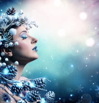 Canvastavlor Vinterkvinna Porträtt - Skönhet Mannekäng flicka med snöig dekoration