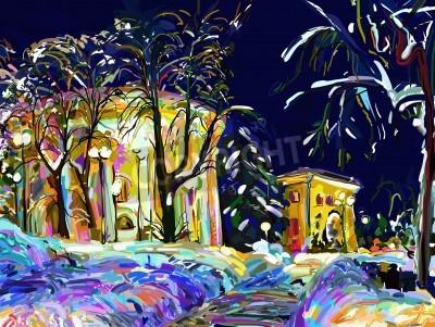 Canvastavlor vinternatt stadsbild digital målning