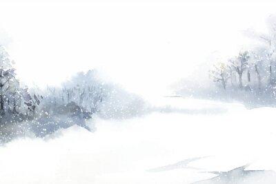 Canvastavlor Vinterunderlandslandskap målade av akvarellvektorn
