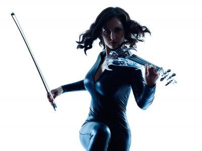 Canvastavlor Violinist kvinna slihouette isolerad