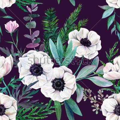Canvastavlor Vit anemoner och löv på lila bakgrund. Akvarell sömlös mönster, fullfärg, handritad illustration.