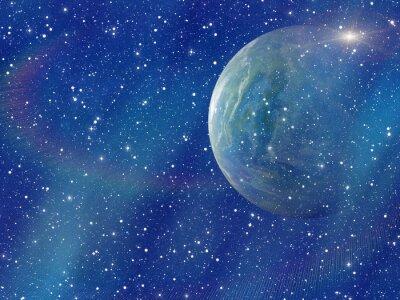 Canvastavlor vit blixt utrymme planet. kosmos sky bakgrunder