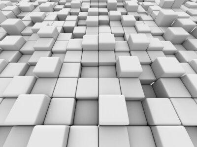Canvastavlor Vita kuber vägg bakgrund 3d