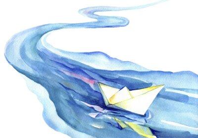 Canvastavlor Vitt papper båten flytande i vattnet. Akvarellmålning av floden och fartyget på en vit bakgrund.