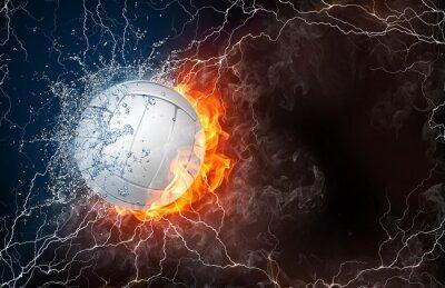 Canvastavlor Volleyboll boll i brand och vatten