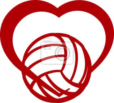 Canvastavlor volleyboll hjärta