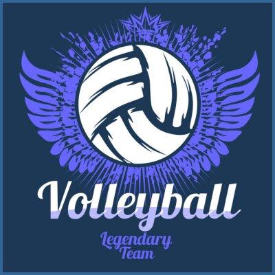 Canvastavlor Volleyboll mästerskap logotyp med boll - vektor illustration.