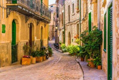 Canvastavlor Vy över en romantisk gata i en gammal Medelhavet by på Spanien