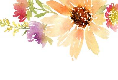 Canvastavlor Vykort vattenfärg solrosor. Bröllop. Floral bakgrund.