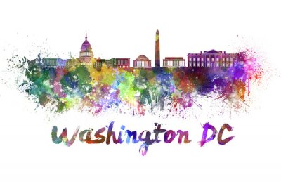 Canvastavlor Washington DC skyline i vattenfärg