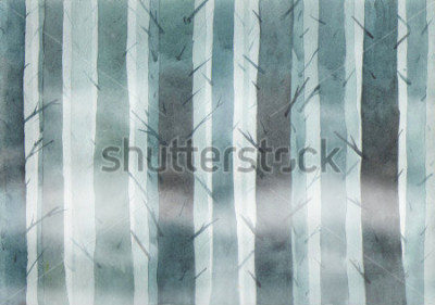 Canvastavlor Watercolor forest. Foggy wood.