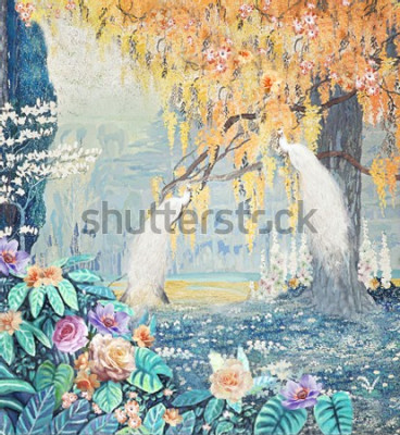 Canvastavlor Watercolor hand-painted landscape rose peacock yellow tree