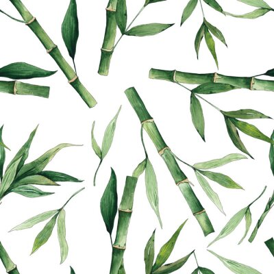 Canvastavlor Watercolor handpainted seamless pattern with green tropical bamboo and leaves