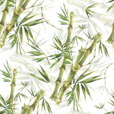 Canvastavlor Watercolor illustration of bamboo leaves , seamless pattern on white background