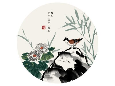 Canvastavlor Watercolor ink paint art vector texture illustration bird on a rock and chrysanthemum flower bamboo. Translation for the Chinese word : Blessing