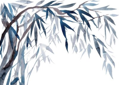 Canvastavlor Watercolor Leaves and tree branches,   Traditional Japanese ink painting sumi-e.