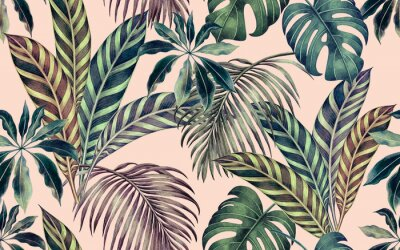 Canvastavlor Watercolor painting colorful tropical leaf,green leave seamless pattern background.Watercolor hand drawn illustration tropical exotic leaf prints for wallpaper,textile Hawaii aloha summer style..