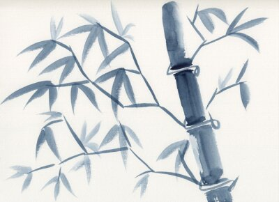 Canvastavlor Watercolor painting of asian bamboo stem with leaves in sumie-e ink style. Hand drawn oriental style serene landscape. Concept for decoration, relaxation, restore, mindful meditation background.