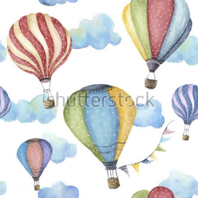 Canvastavlor Watercolor pattern with cartoon hot air balloon. Transport ornament with flag garlands and clouds isolated on white background