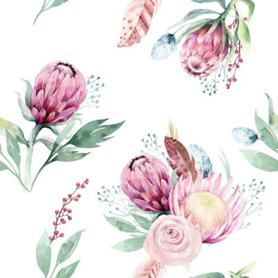 Canvastavlor Watercolor protea seamless pattern. tropical leaves background. Textile texture. Hand drawn illustration