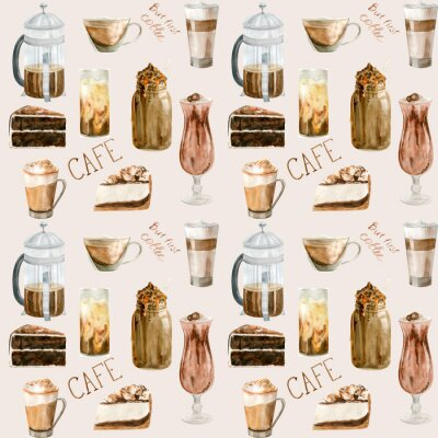 Canvastavlor Watercolor seamless pattern with illustrations of coffee cup, coffee beans, coffee grinder, cappuccino, latte and desserts