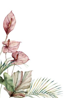 Canvastavlor Watercolor tropic card with anthurium and palm leaves. Hand painted frame with flowers and plant isolated on white background. Floral illustration for design, print, background. Invitation template.