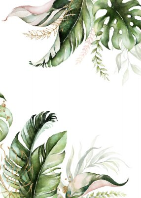 Canvastavlor Watercolor tropical floral border - green, blush & gold leaves. For wedding stationary, greetings, wallpapers, fashion, background.