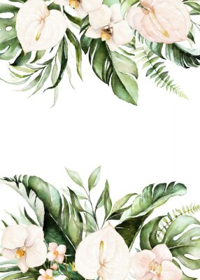 Canvastavlor Watercolor tropical floral border - green, blush leaves & flowers . For wedding stationary, greetings, wallpapers, fashion, background.