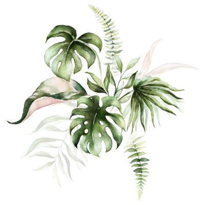 Canvastavlor Watercolor tropical floral bouquet - green & blush leaves. For wedding stationary, greetings, wallpapers, fashion, background.
